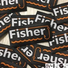 Этикетка жаккардовая вышитая Fisher 30мм заказная (1000 штук)