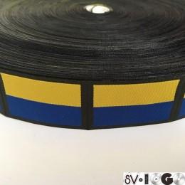 Этикетка жаккардовая вышитая Ukraine желто-синяя 30мм заказная (100 метров)