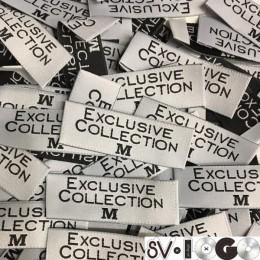 Этикетка жаккардовая вышитая Exclusive Collection 20мм M  (1000 штук)