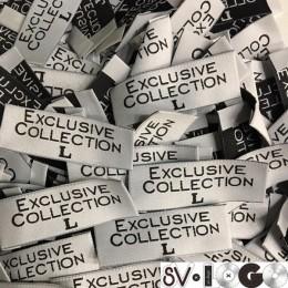 Этикетка жаккардовая вышитая Exclusive Collection 20мм L  (1000 штук)