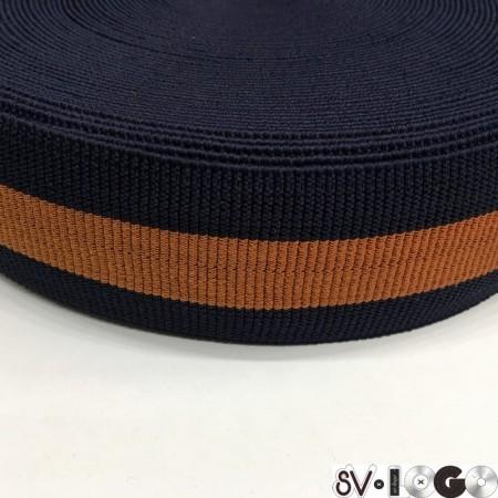 Резинка 60 мм манжетная синий рыжий (25 метров)