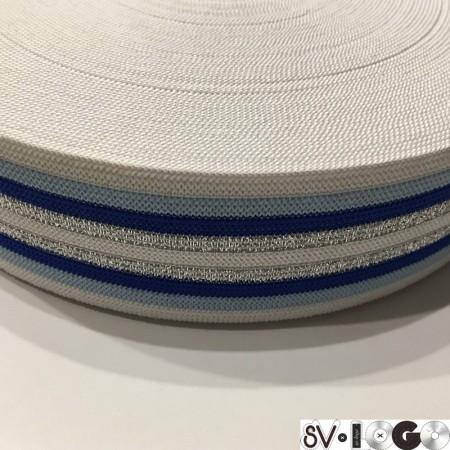Резинка 42 мм синяя серебро (32 метра)