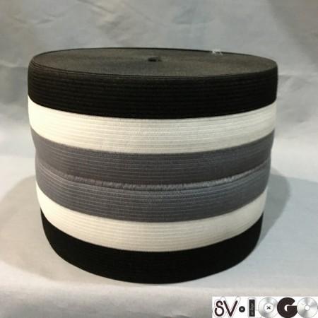 Резинка 130 мм для манжетов серо белая (метр )