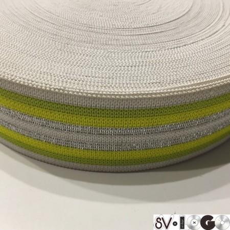 Резинка 42 мм желтая серебро (32 метра)
