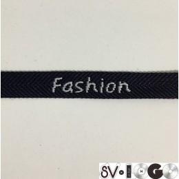 Тесьма с логотипом 10мм Fashion черно-белая (50 метров)