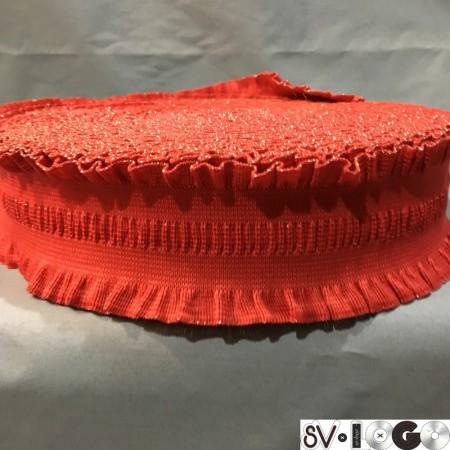 Резинка 60 мм рюшь красный (25 метров)