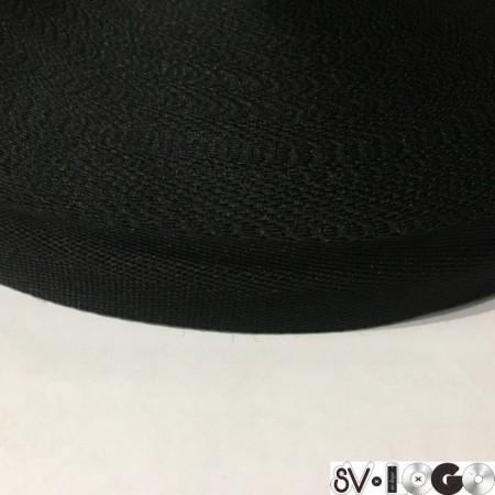 Тесьма репсовая производство 20 мм черная (50 метров)