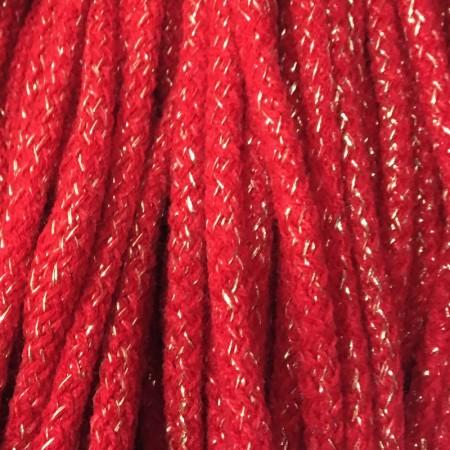 Шнур круглый 6 мм акриловый люрекс красный (100 метров)