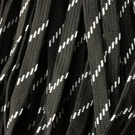 Шнур плоский чехол ПЭ40 10 мм черно белый (100 метров)