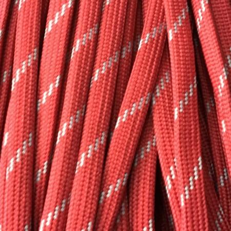 Шнур плоский чехол ПЭ40 10 мм красно белый (100 метров)