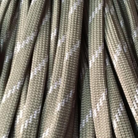 Шнур плоский чехол ПЭ40 10 мм хаки белый (100 метров)