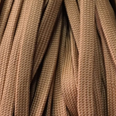 Шнур плоский чехол ПЭ40 10 мм коричневый светлый (100 метров)