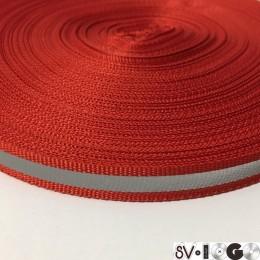 Тесьма светоотражающая 1см красный (50 метров)