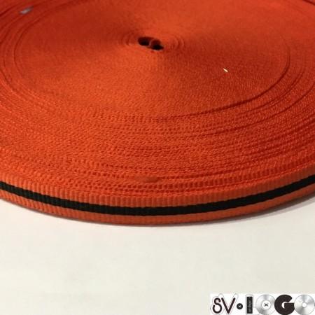 Тесьма репсовая производство 10 мм оранжевая черная (50 метров)
