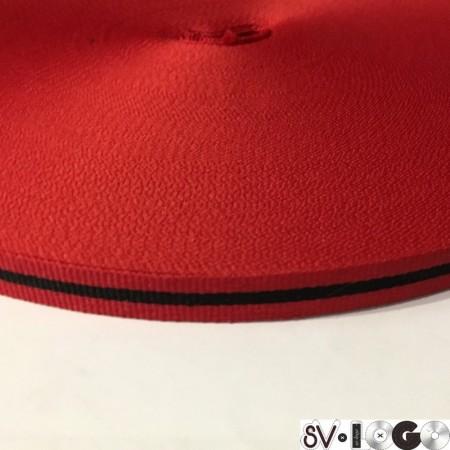Тесьма репсовая производство 10 мм красная черная (50 метров)