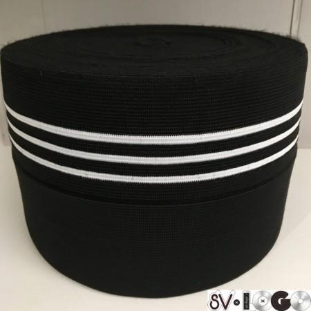 Резинка 130 мм для манжетов Черная 3 белые полоски (метр )