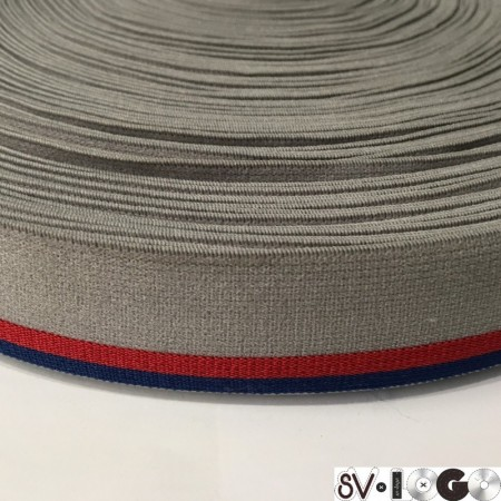 Резинка 30 мм серый красная полоска (метр )