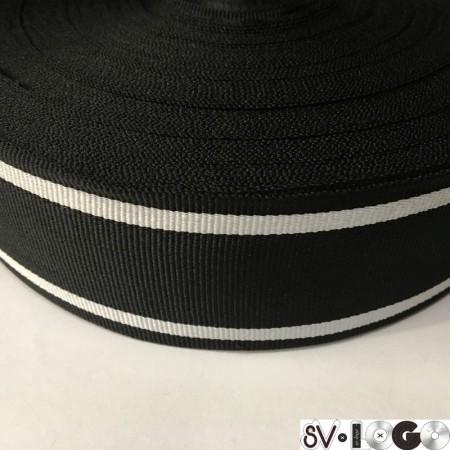 Тесьма репсовая производство 50 мм черная 2п белые (50 метров)