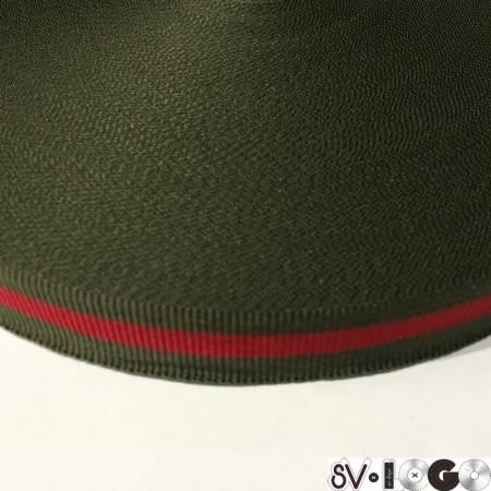 Тесьма репсовая производство 20 мм хаки красный (50 метров)