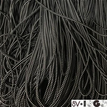 Резинка шнур производство 2,5 см черный белый (50 метров)