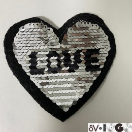Вышивка апликация клеевая сердце 9х8см  (Штука)