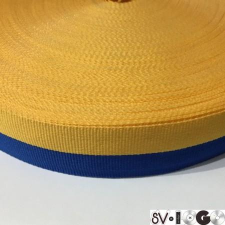 Тесьма репсовая производство 30 мм желтая синяя Украина (50 метров)