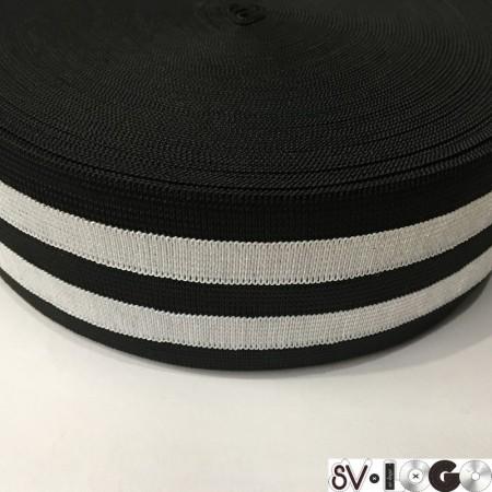 Резинка 60 мм черный 2 белых полосы (25 метров)