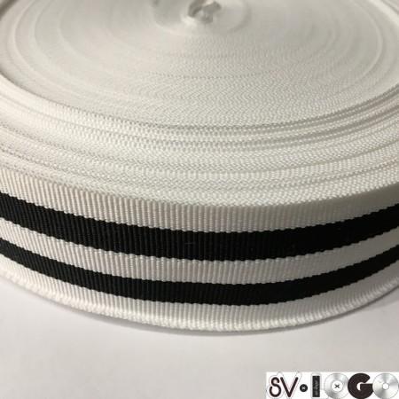 Тесьма репсовая производство 40 мм белая 2п черные (50 метров)