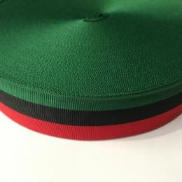 Тесьма репсовая производство 40мм зеленая черная красная (50 метров)