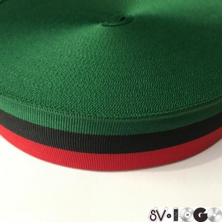 Тесьма репсовая производство 40 мм зеленая черная красная (50 метров)