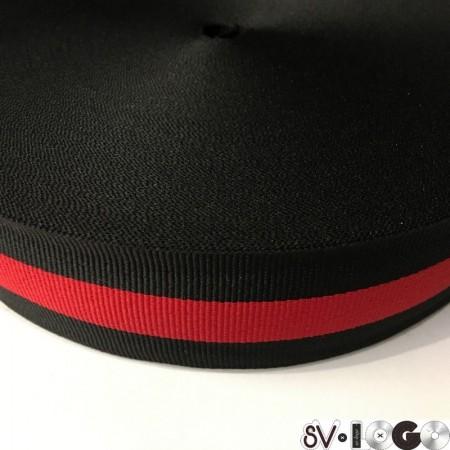 Тесьма репсовая производство 40 мм черная 1п красная (50 метров)