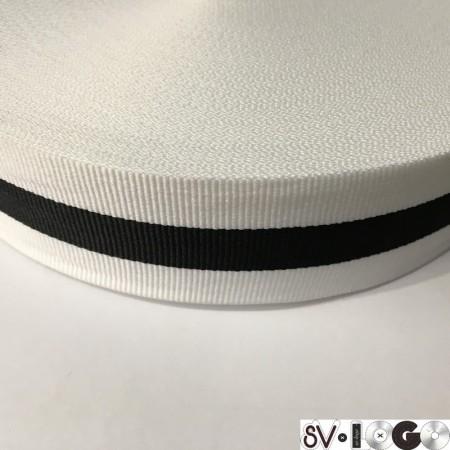 Тесьма репсовая производство 40 мм белая 1п черная (50 метров)