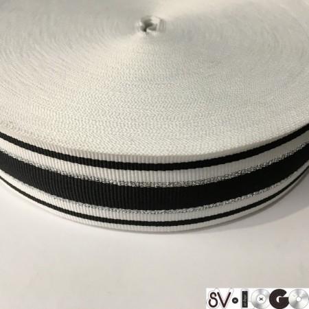 Тесьма репсовая производство 40 мм белая черная 2п серебро (50 метров)