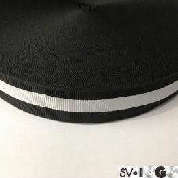 Тесьма репсовая производство 30мм черная 1п белая (50 метров)