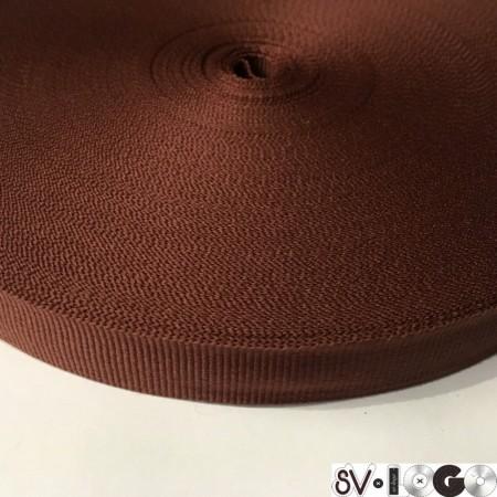 Тесьма репсовая производство 20 мм коричневый  (50 метров)