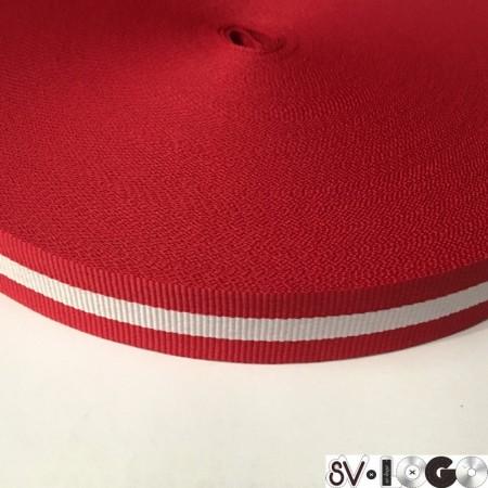 Тесьма репсовая производство 20 мм красный 1п белая (50 метров)