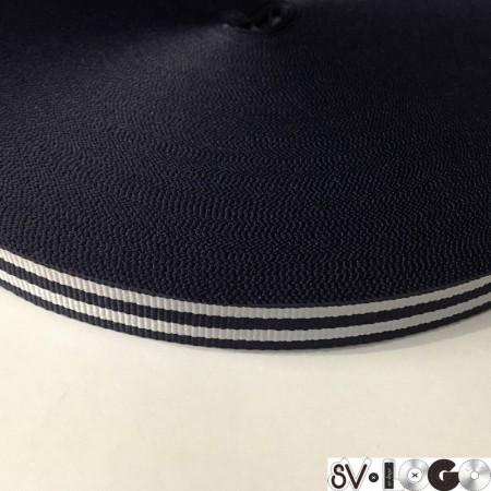 Тесьма репсовая производство 15 мм синяя 2п белые (50 метров)