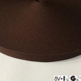 Тесьма репсовая производство 15мм коричневая темная (50 метров)
