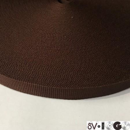 Тесьма репсовая производство 15 мм коричневая темная (50 метров)