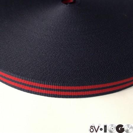 Тесьма репсовая производство 15 мм синяя 2п красные (50 метров)