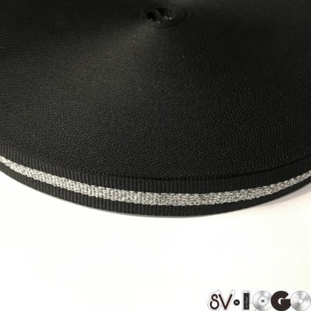 Тесьма репсовая производство 15 мм черная 1п серебро (50 метров)