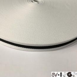 Тесьма репсовая производство 15мм белая 1п черная (50 метров)