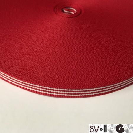 Тесьма репсовая производство 10 мм красная 3п белые (50 метров)