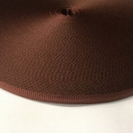 Тесьма репсовая производство 10мм коричневая (50 метров)