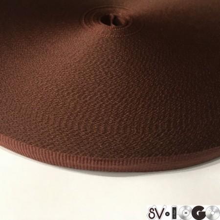 Тесьма репсовая производство 10 мм коричневая (50 метров)