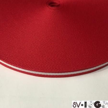 Тесьма репсовая производство 10 мм красная 1п белая (50 метров)