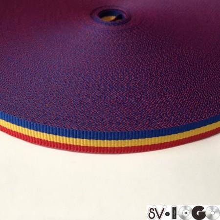 Тесьма репсовая производство 10 мм василек желтый красный (50 метров)