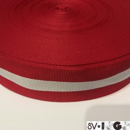Тесьма репсовая производство 40 мм красная 1п белая (50 метров)
