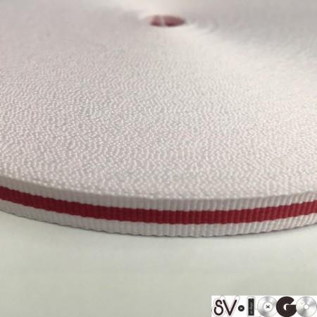 Тесьма репсовая производство 1 0мм белая 1п красная (50 метров)