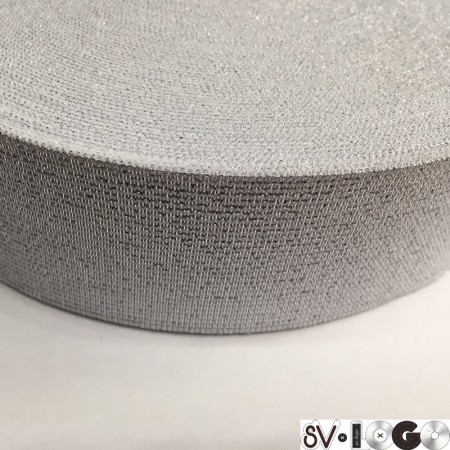 Резинка 50 мм серебро белый (25 метров)